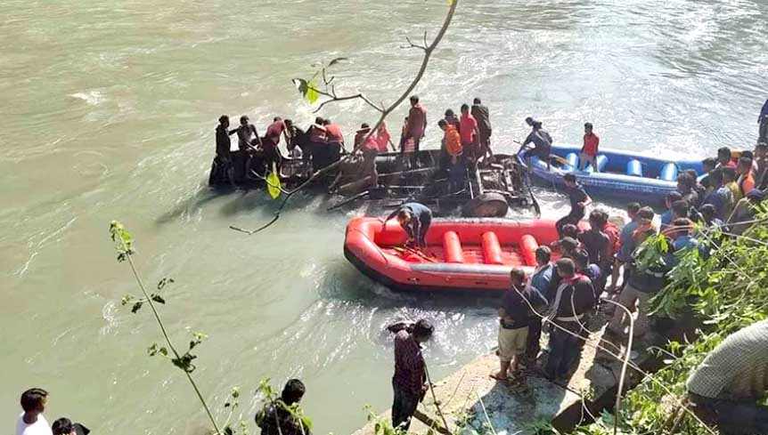 At least 17 people were killed as bus falls into Sunkoshi River