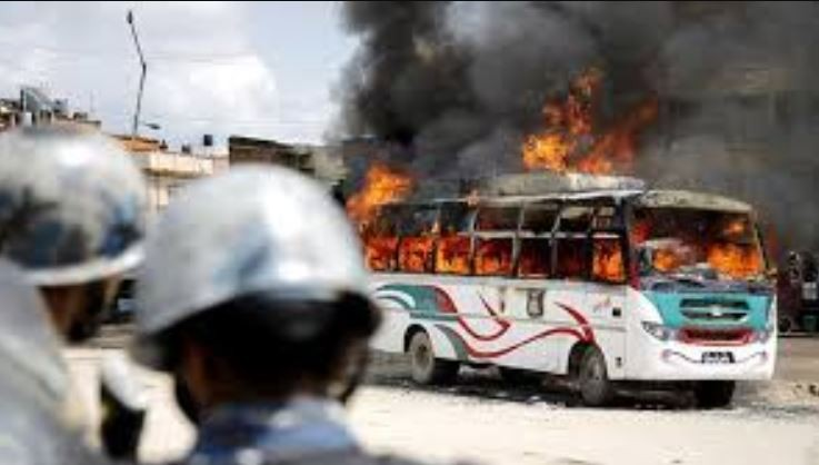 An Unidentified Group Torched a Bus Parked by the Roadside