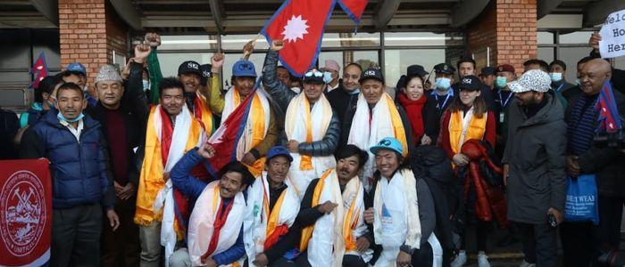केटु हिमाल आरोहण गर्ने कीर्तिमानी आरोही टोलीलाई काठमाडौंमा भव्य स्वागत