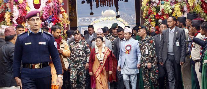 President Bhandari at Pashupatinath for the installment of golden 'Jalahari'