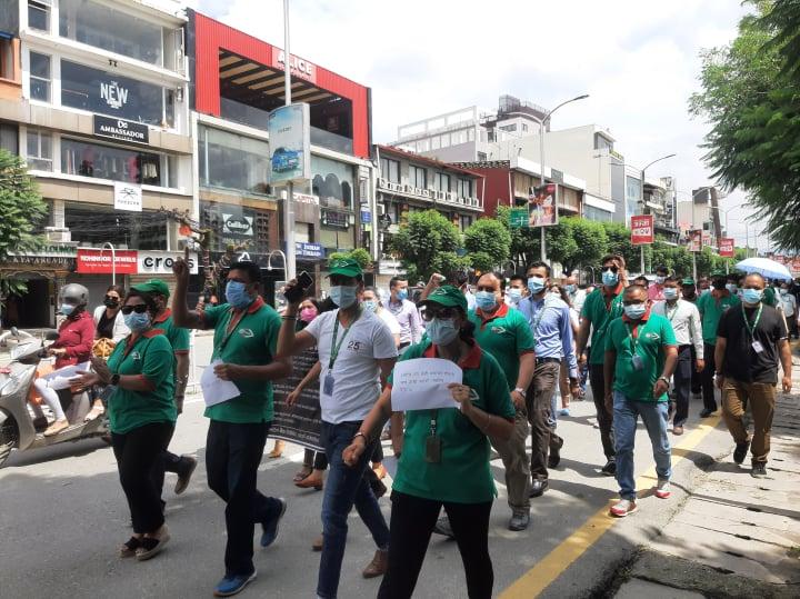 सामाजिक सुरक्षा योजनाको विरोधमा बैंकका कर्मचारी आन्दोलित