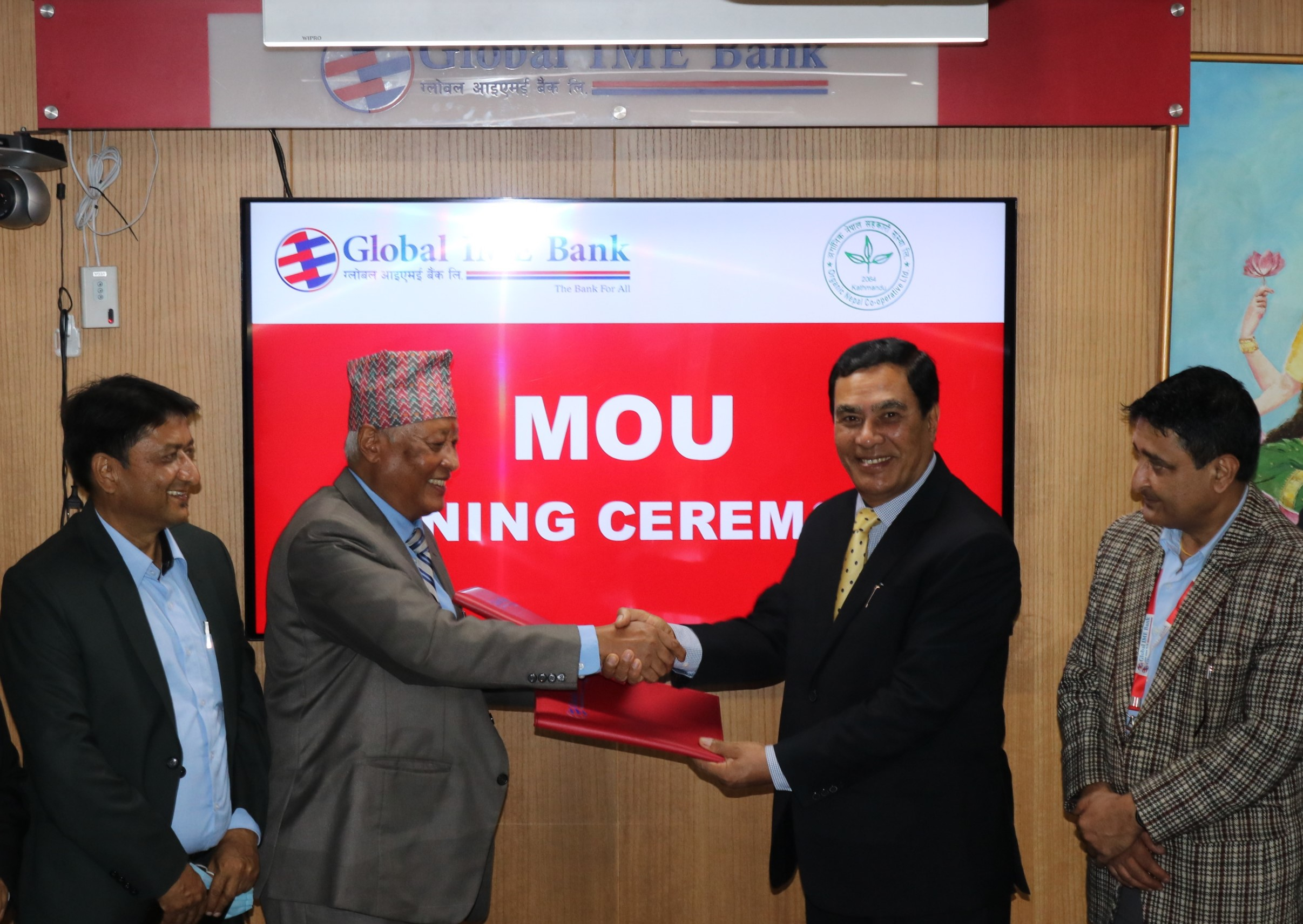 ग्लोबल आइएमई बैंक र अर्गानिक नेपाल सहकारीबीच सम्झौता